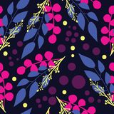 Modern abstract leaves and branches on blue background seamless pattern vector illustration