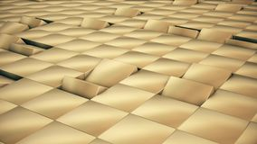 Modern abstract metal grid surface rotate wave of bright golden cubes royalty free illustration