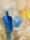 Modern abstract oil-painting of a standing figure. Abstract oil-painting on canvas of a standing figure. The paint has been added in thick layers with brush and Stock Image
