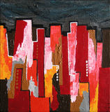 Modern Abstract Painting / Skyline by Night. In Red and Black Colors. Original Artwork Royalty Free Stock Photography