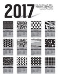 Modern Abstract 2017 Printable Calendar Starts Sunday Black And White Graphic. Stock Image