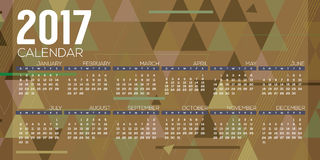 Modern Abstract 2017 Printable Calendar Starts Sunday Geometric Graphic. 5000x2500 px Modern Abstract 2017 Printable Calendar Starts Sunday Geometric Graphic Stock Photography