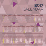 Modern Abstract 2017 Printable Calendar Starts Sunday Geometric Graphic. Modern Abstract 2017 Printable Calendar Starts Sunday Geometric Graphic Vector Stock Photo