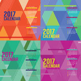 Modern Abstract 2017 Printable Calendar Starts Sunday Geometric Graphic. Modern Abstract 2017 Printable Calendar Starts Sunday Geometric Graphic Vector Stock Images