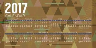 Modern Abstract 2017 Printable Calendar Starts Sunday Geometric Graphic. Stock Photography