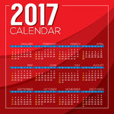 Modern Abstract 2017 Printable Calendar Starts Sunday Red Background. Modern Abstract 2017 Printable Calendar Starts Sunday Red Background Vector Illustration Royalty Free Stock Photography