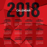 2018 Modern Abstract Red Polygon Printable Calendar Starts Sunday Stock Images