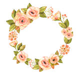 Modern abstract roses flower wreath Stock Photos