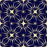 Gold stars and sun seamless pattern. Modern abstract seamless pattern. Dark blue background wallpaper illustration with gold 3d stars and shiny sun. Vector Royalty Free Stock Photos