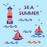Modern abstract set pixel art icons, isolated background. Summer, holiday, vacation poster in blue, red and white color. Cross stitch style heart embroidery Stock Image