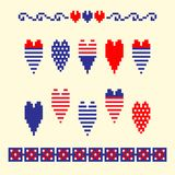 Modern abstract set pixel art icons, isolated background. Summer, holiday, vacation poster in blue, red and white color. Cross stitch style heart embroidery Royalty Free Stock Photos