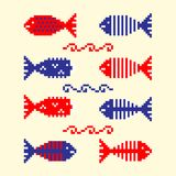 Modern abstract set pixel art icons, isolated background. Summer, holiday, vacation poster in blue, red and white color. Cross stitch style heart embroidery Royalty Free Stock Photo