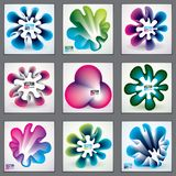 Of modern abstract shapes, 3d flower shape gradients set. 3d flower shape,  abstract art. Perfect for gift card,cover,poster or brochure. Bright color wave Stock Photography
