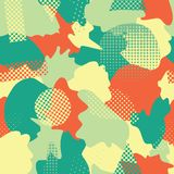Modern abstract shapes seamless vector background. Turquoise, teal, green, yellow, and orange camouflage shapes layered. Doodle stock illustration