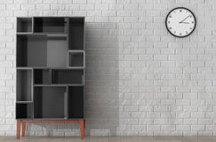 Modern Abstract Shelf. 3d Rendering. Modern Abstract Shelf in front of Brick Wall. 3d Rendering Royalty Free Stock Image