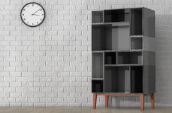 Modern Abstract Shelf. 3d Rendering. Modern Abstract Shelf in front of Brick Wall. 3d Rendering royalty free illustration
