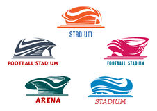 Modern abstract sport stadiums building icons Stock Images