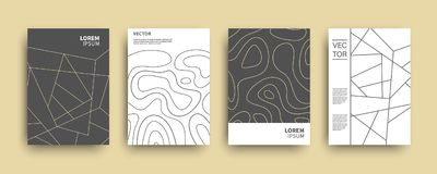 Modern abstract topography geometric covers set vector illustration