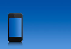 Modern abstract touchscreen phone over the blue Royalty Free Stock Photography