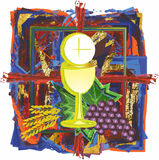 Modern abstract watercolor tempera Eucharist symbol of bread