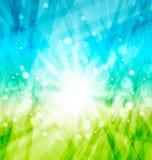 Modern abstrakt bakgrund med solstrålar Arkivbilder