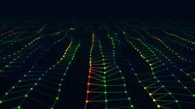 Modern abstrakt ljus röd, grön och blå yttersidavåg med fältet av sikten stock illustrationer