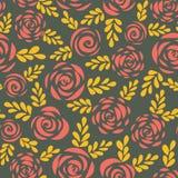 Modern abstrakt plan röd guld- sömlös vektorbakgrund för rosor och för sidor blom- konturer Blommamodell för valentin, vektor illustrationer