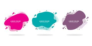 Modern abstrakt vektorbaneruppsättning Plan geometrisk vätskeform med olika färger royaltyfri illustrationer