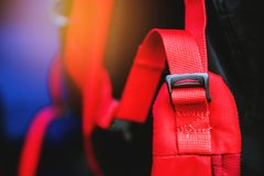 Modern accessories for backpacks. the buckle on a backpack. Accessory, Lock, Travel stock photos