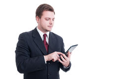 Modern accountant or financial manager using wireless tablet Stock Photo