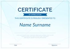 Modern achievement certificate or diploma design template Stock Images