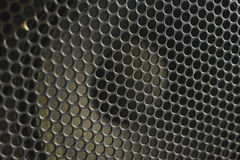 Modern acoustic systems. Metal grating on the sound dynamics. Stock Photo