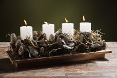 Modern advent wreath with candles Stock Photos