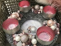 Modern advent decoration in pink and silver Stock Photo