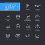 Modern advertising simple thin line design icons, pictograms set Stock Photo