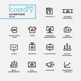 Modern advertising simple thin line design icons, pictograms set Stock Images