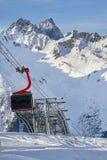 Modern aerial tramway in Austrian Alps ski resort. Modern aerial tramway in Austrian Alps ski resort Royalty Free Stock Photo