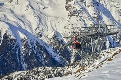 Modern aerial tramway in Austrian Alps ski resort. Modern aerial tramway in Austrian Alps ski resort Stock Image