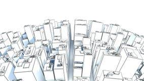 Modern affärsstad som isoleras på vit bakgrund skissa stock illustrationer