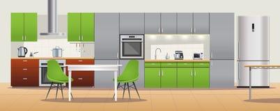 Modern affisch för kökinredesign royaltyfri illustrationer