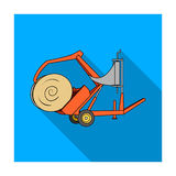 Modern agricultural machinery for  of hay and rolling circles.Agricultural Machinery single icon in flat style vecto. R symbol stock web illustration Stock Photos