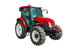 Modern agricultural tractor isolated on white background with cl. Ipping path Royalty Free Stock Photos
