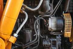 Modern agricultural truck or tractor or harvester engine. Close up Stock Photography