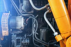 Modern agricultural truck or tractor or harvester engine, close up. Toned Royalty Free Stock Photos