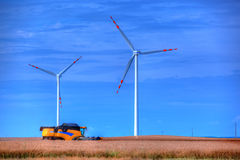 Modern agriculture, wind turbines Royalty Free Stock Image