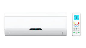 Modern air conditioner with remote Stock Image