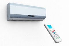 Modern air conditioner with remote Royalty Free Stock Photography