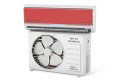 Modern air conditioner system with unit, 3D rendering Royalty Free Stock Photo