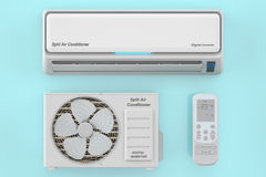 Modern air conditioner system with unit and remote control Stock Photos