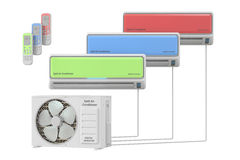 Modern air conditioner system with units and remote control Stock Photo